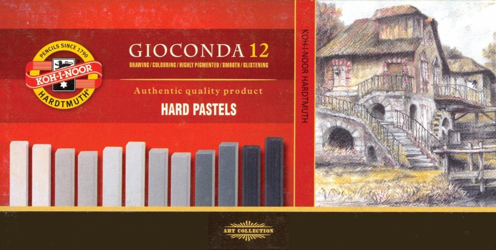 8122G Olejové pastely GIOCONDA HARD 12ks, 7x7mm, odstín šedé křídy GIOCONDA