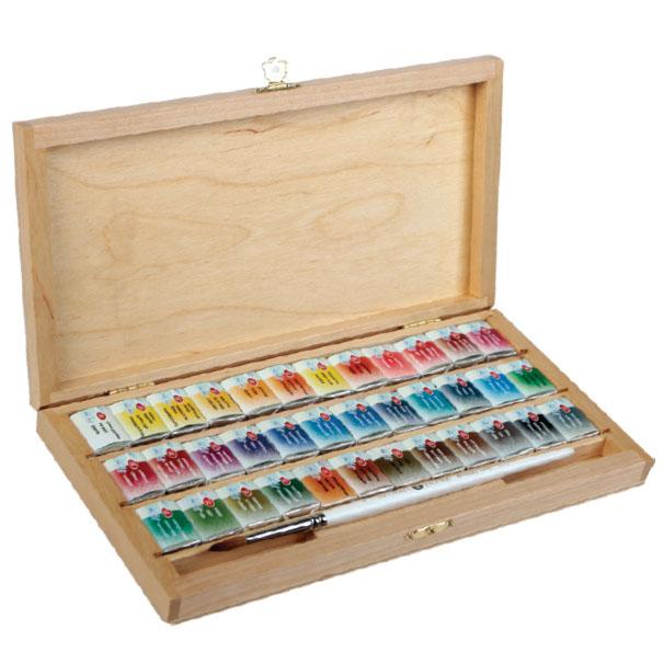 """Akvarelové farby """"White Nights"""" v drevenom boxe / rôzne sety umělecké akvarelové barvy St. Petersburg"""