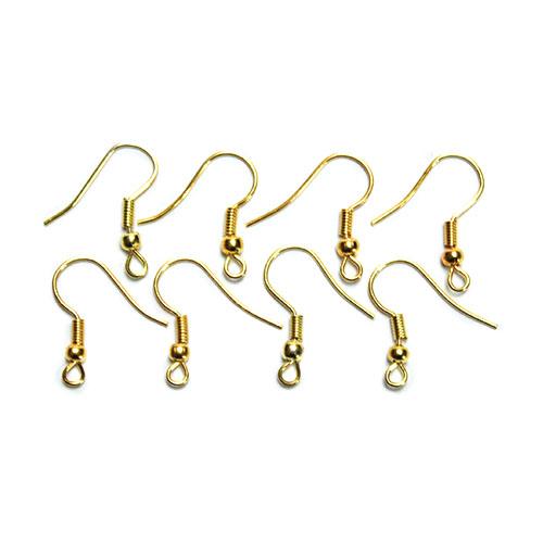 Kovové háčky pro náušnice - zlatá barva bižuterní komponenty