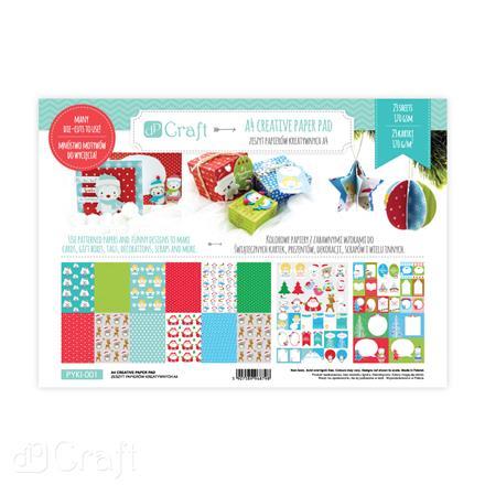 Kreativní papírový blok A4 Vánoce / 23 karet kreativní papíry