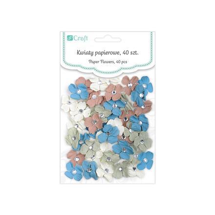 Papírové květiny Se In Love / 40 dílná sada dekorace z papíru