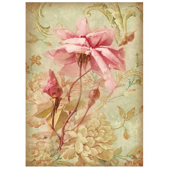 Rýžový papír A4 Stamperia - růže rýžové papíry na dekupáž