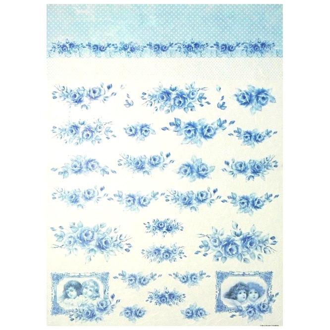 Rýžový papír Decom / 5313 - modré růže rýžové papíry na dekupáž