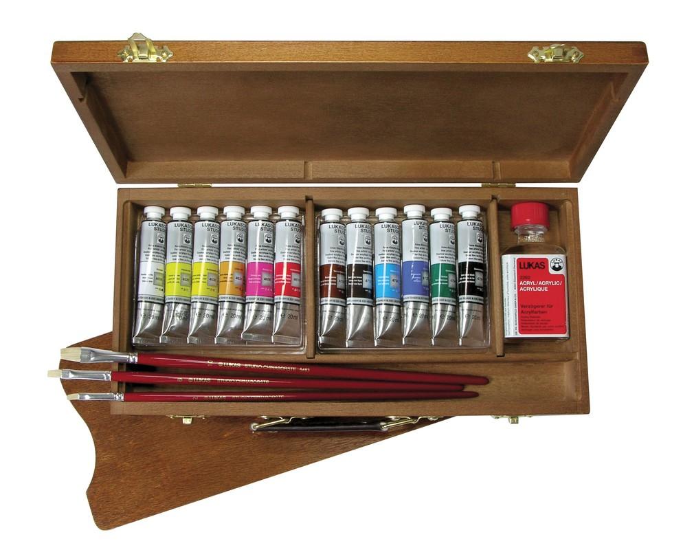 Sada akrylových barev Lukascryl Studio 12x20 ml v dřevěném kufříku dárková sada akrylových barev Lukas