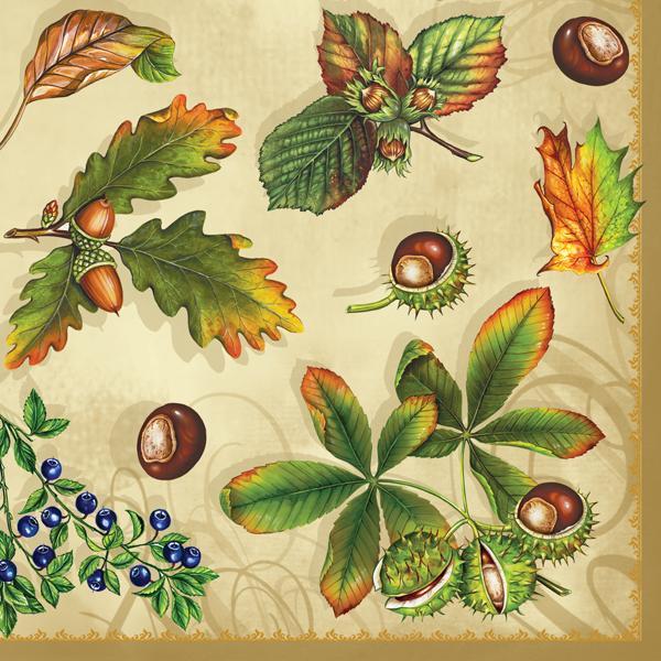 Ubrousky na dekupáž - Podzimní plody - 1ks vánoční ubrousky na dekupáž