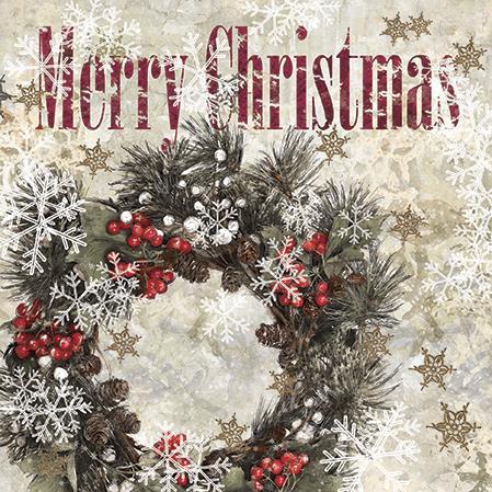 Ubrousky na dekupáž - Zimní věnec - 1ks vánoční ubrousky na dekupáž