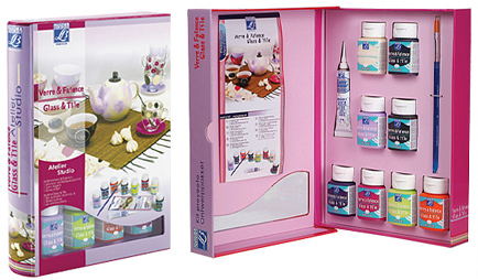 Barvy GLASS & TILE - TRANSPARENT Set 8x50ml transparentní barvy na sklo, keramiku a porcelán