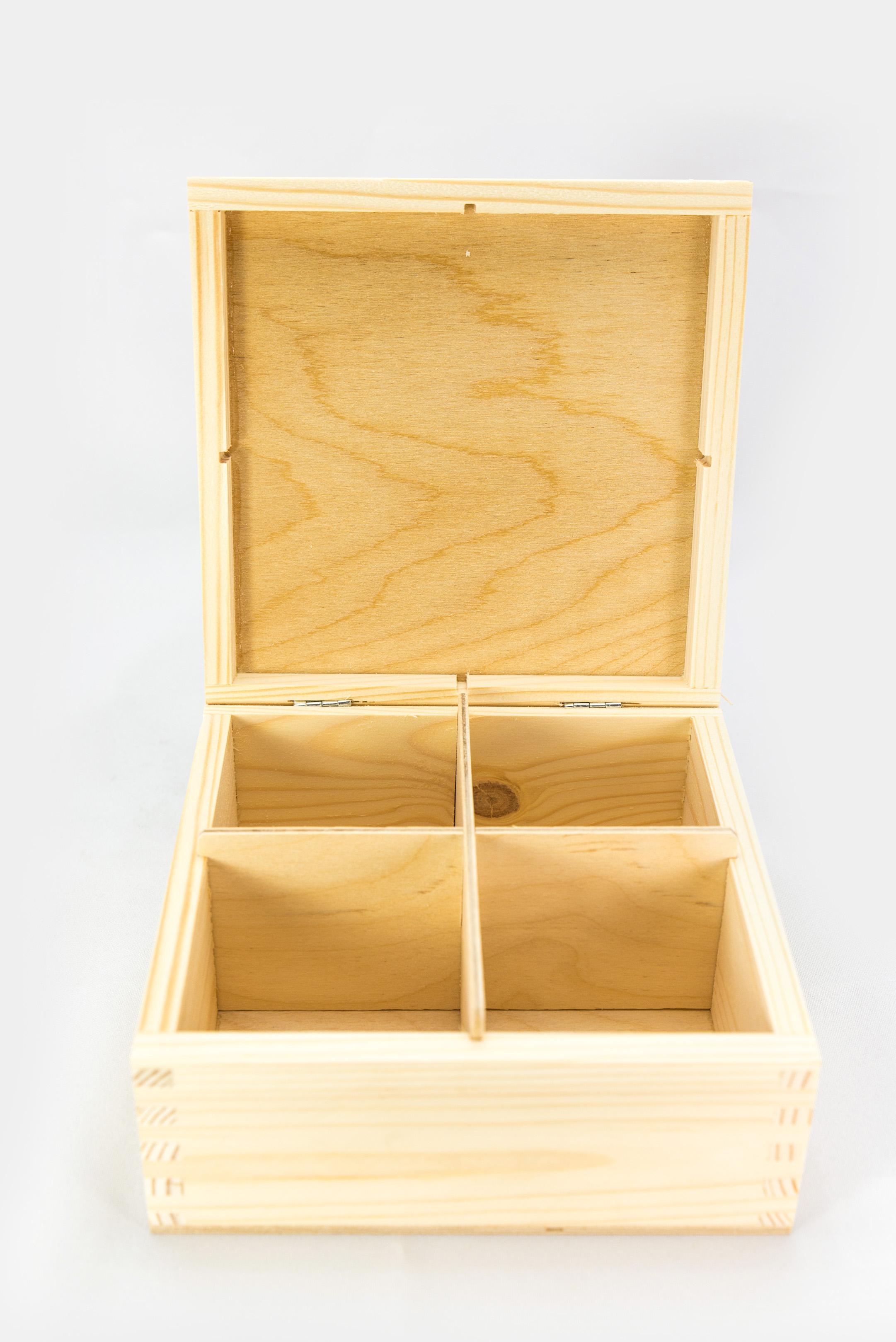 Dřevěná krabička na čaj pomůcky na dekupáž