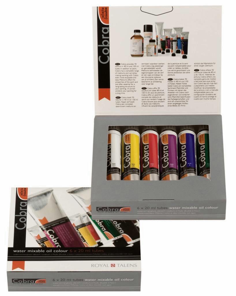 Olejové barvy ředitelné vodou COBRA Set 6x20ml sada olejových barev Royal Talens