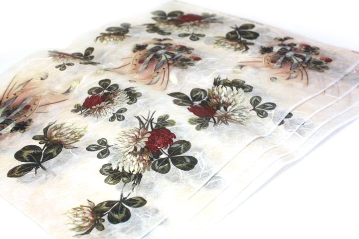 Rýžový papír MONDODECOUPAGE s potiskem - červené květy papíry na dekupáž