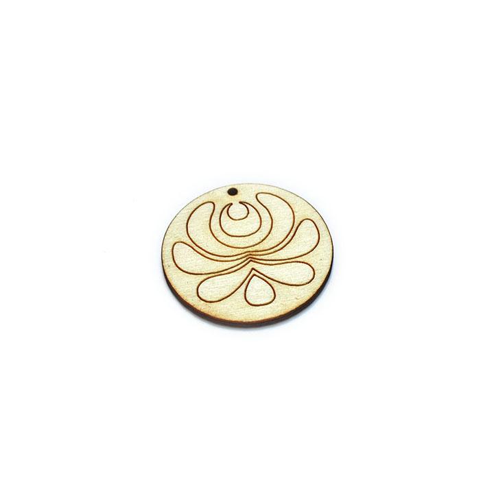 Dřevěný polotovar na výrobu bižuterie - kruh s ornamentem dřevěné polotovary na kreativní tvorbu