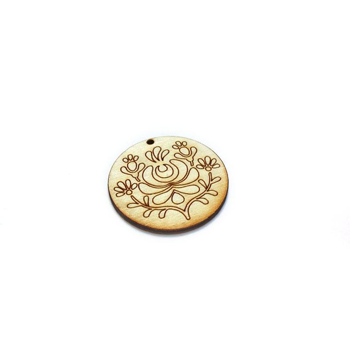 Dřevěný polotovar na výrobu bižuterie - kruh s ornamentem 2 dřevěné polotovary na kreativní tvorbu