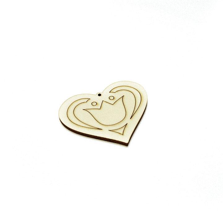 Dřevěný polotovar na výrobu bižuterie - srdce s ornamentem dřevěné polotovary na kreativní tvorbu