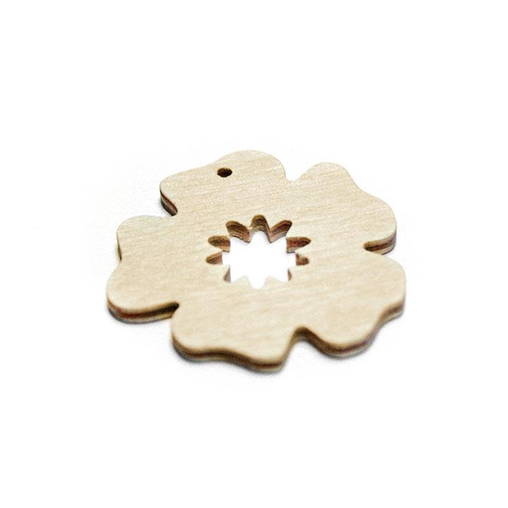 Dřevěný polotovar na výrobu bižuterie - kvítek Dřevěné polotovary na kreativní tvorbu
