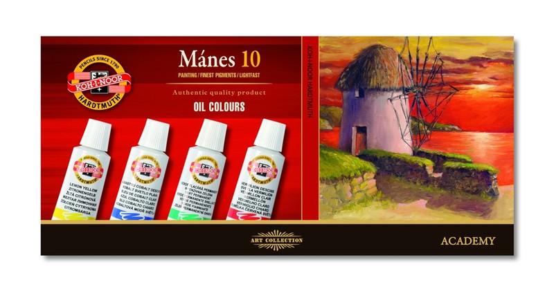 Sada olejových barev KOH-I-NOOR Mánes / 10 x 16 ml olejové barvy KOH-I-NOOR