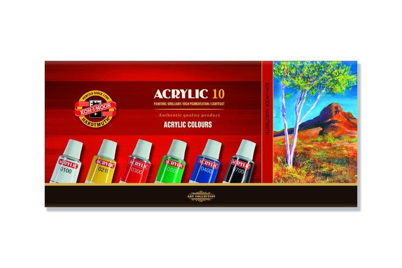 Sada akrylových barev KOH-I-NOOR / 10 x 16 ml akrylové barvy KOH-I-NOOR