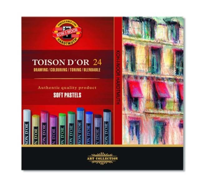 Sada suchých pastelů Toison D'OR / 24 dílná suché pastely KOH-I-NOOR