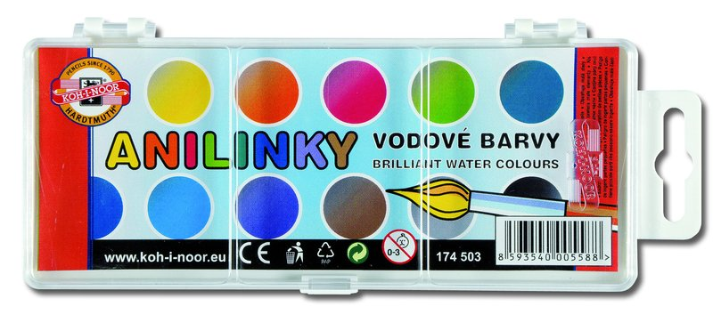 Vodové barvy brilantní anilinové KOH-I-NOOR / 12 barev vodové barvy anilinové
