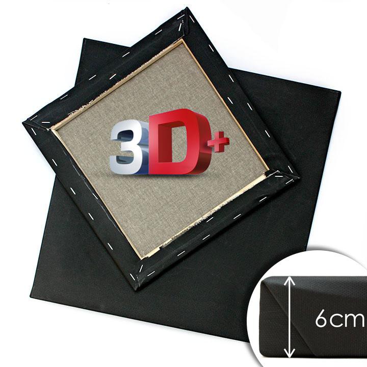 3D + Černé malířské plátno na rámu 50x50 cm černé malířská plátna 3D +