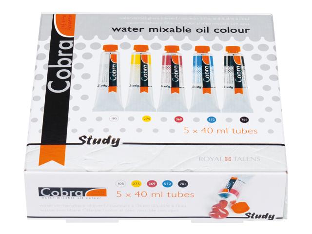 Olejové barvy ředitelné vodou COBRA Study Set 5x40ml sada olejových barev Royal Talens