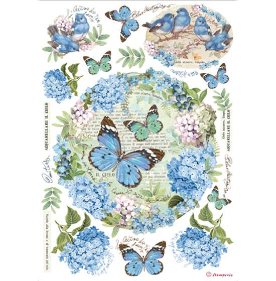 Rýžový papír A4 Stamperia - modré motýly rýžové papíry na dekupáž