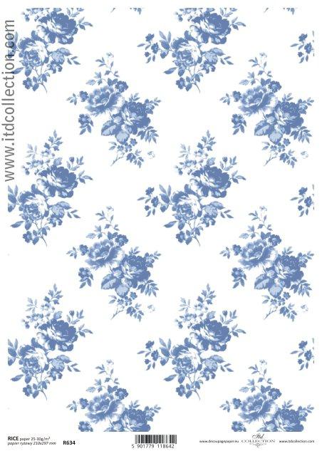 Rýžový papír A4 ITD - Modré Růže rýžové papíry na dekupáž