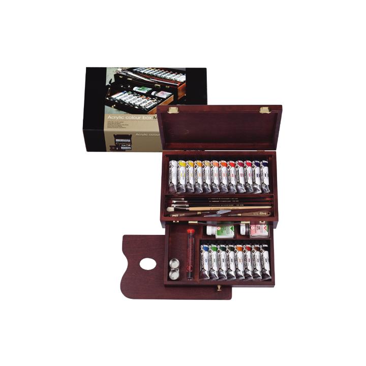Akrylové barvy Rembrandt Box Master / 20x40ml + příslušenství sada akrylových barev Rembrandt Box Master