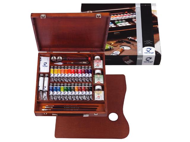 Olejové barvy Van Gogh Expert BOX sada olejových barev v dřevěném pouzdře Royal Talens