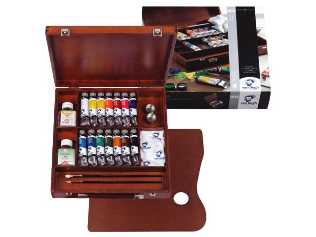 Kufřík / Olejové barvy Van Gogh Inspiration BOX 14x40 ml sada olejových barev v dřevěném pouzdře Royal Talens