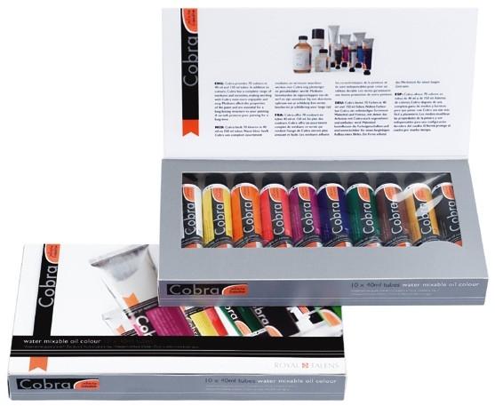 Olejove barvy ředitelné vodou COBRA Set 10x40ml sada olejových barev Royal Talens