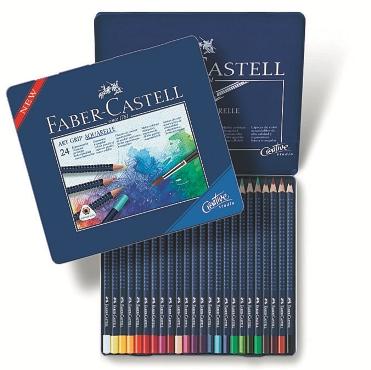 Akvarelové pastelky Art Grip set 24 barevné - plech Faber Castel - Akvarelové pastelky
