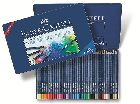Akvarelové pastelky Art Grip set 36 barevné - plech Faber Castel - Akvarelové pastelky