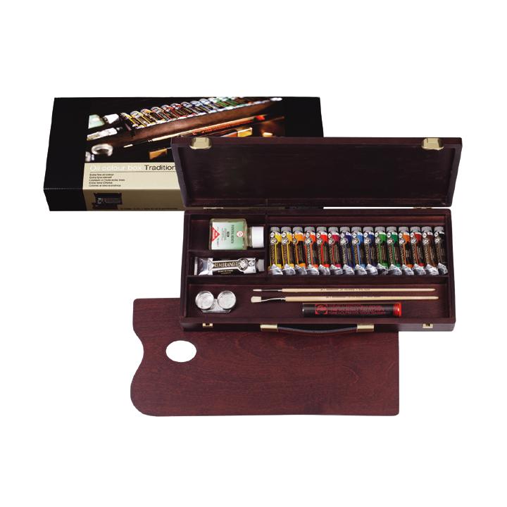 Olejové barvy Rembrandt Box Traditional / 15x15ml + 1x40ml + příslušenství sada olejových barev Rembrandt Box Traditional