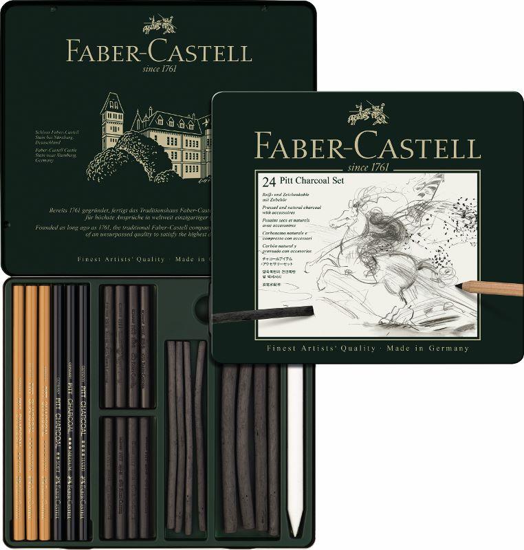 Pitt uhlíkový set / 24 - plech Faber Castel - Sada PITT uhlík