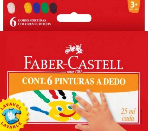 Prstové barvy v kelímku, 25ml, 6 barev Faber Castel - Prstové barvy
