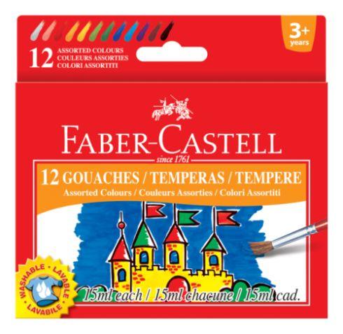 Temperové barvy v kelímku 12 barevné 15 ml / 30 Faber Castel - Temperové barvy v kelímku 15 ml.