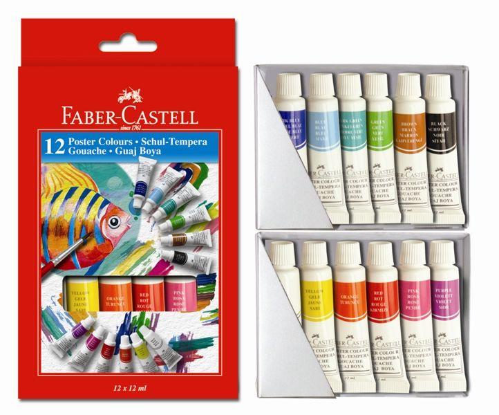 Temperové barvy v tubě 12 barevné, 12 ml. Faber Castel - Temperové barvy