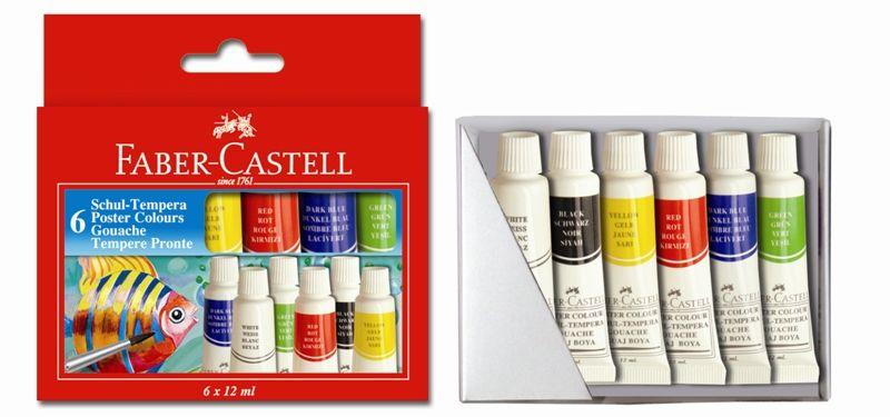 Temperové barvy v tubě 6 barevné, 12 ml. Faber Castel - Temperové barvy