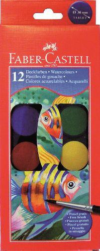 Vodové barvy 12 barevné, 30mm Faber Castel - Vodové barvy