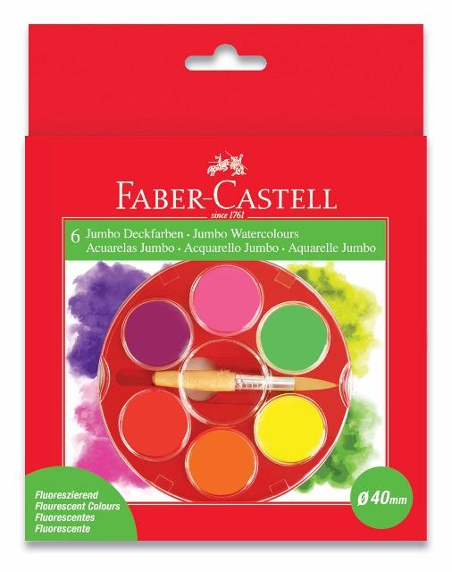 Vodové barvy 6 barevné, Jumbo Fluo Faber Castel - Vodové barvy