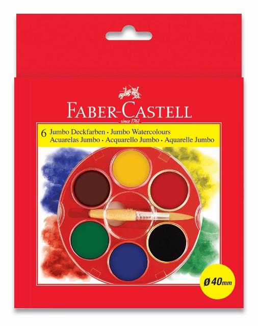 Vodové barvy 6 barevné, Jumbo Klasik Faber Castel - Vodové barvy
