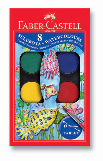 Vodové barvy 8 barevné, 24mm Faber Castel - Vodové barvy